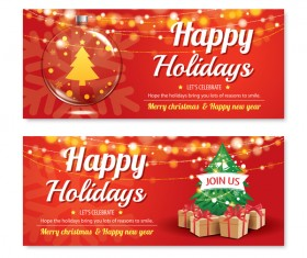 Christmas holiday red banners vector 06