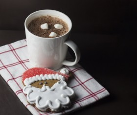 Christmas hot coffee cookie Stock Photo