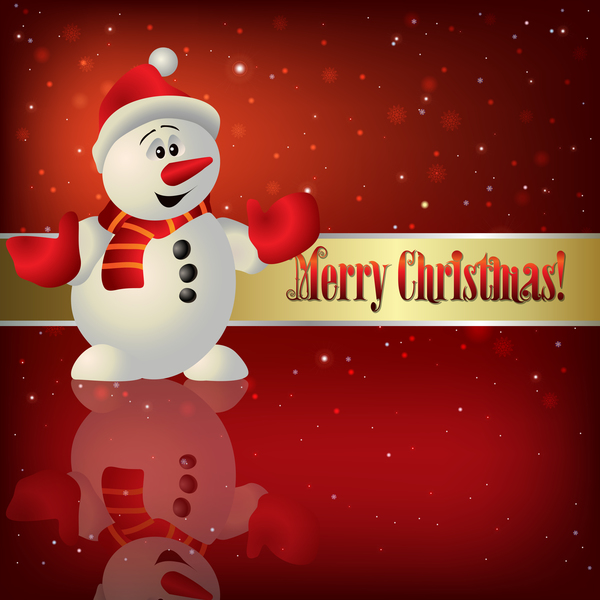 Christmas illustration with snowman and snowflakes vector