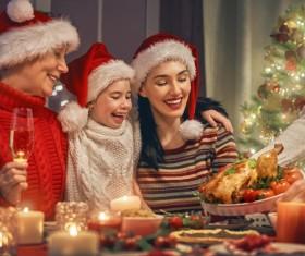 Christmas night family party Stock Photo