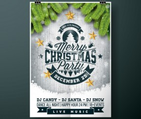 Christmas party flyer with poster cover template vector 02