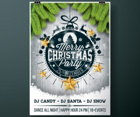 Christmas party flyer with poster cover template vector 03