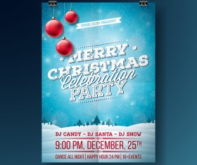 Christmas party flyer with poster cover template vector 07
