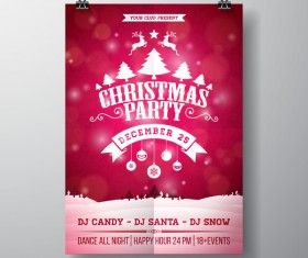 Christmas party flyer with poster cover template vector 08