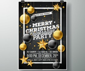 Christmas party flyer with poster cover template vector 09