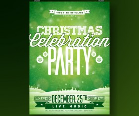 Christmas party flyer with poster cover template vector 10