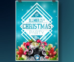 Christmas party flyer with poster cover template vector 11