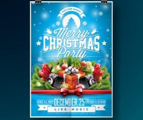 Christmas party flyer with poster cover template vector 12