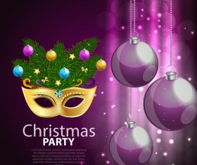 Christmas party poster purple vector template 01