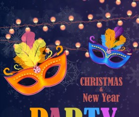 Christmas party poster purple vector template 03