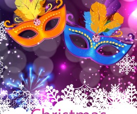 Christmas party poster purple vector template 04