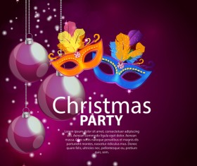 Christmas party poster purple vector template 05