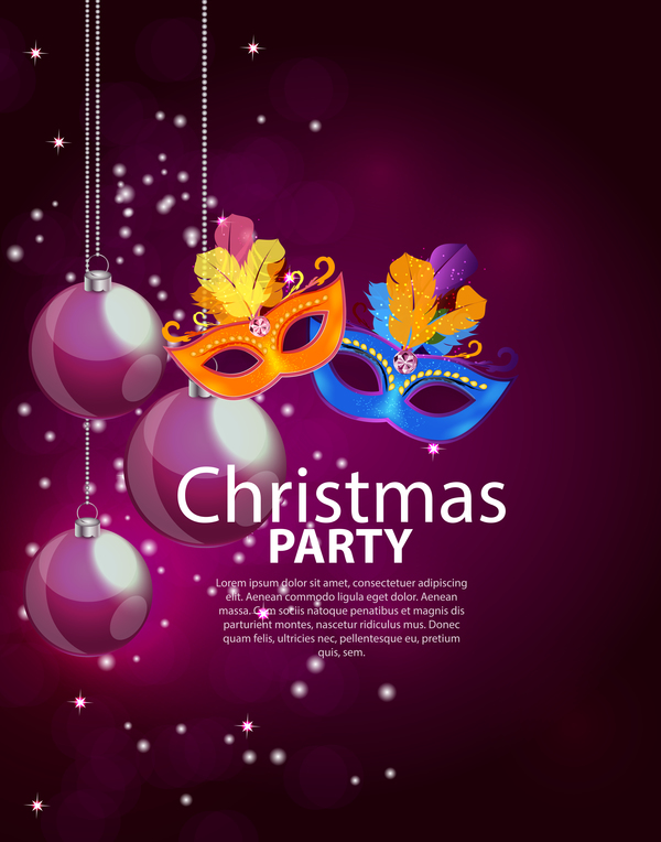 christmas party poster purple vector template 05 free download