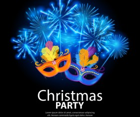 Christmas party poster template with black background vector
