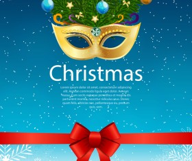 Christmas party poster template with red bow and mask vector 01