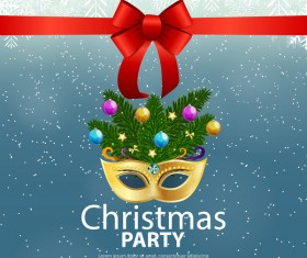 Christmas party poster template with red bow and mask vector 02