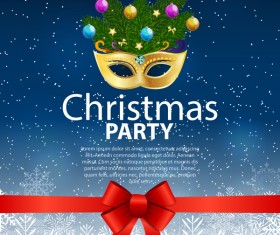 Christmas party poster template with red bow and mask vector 03