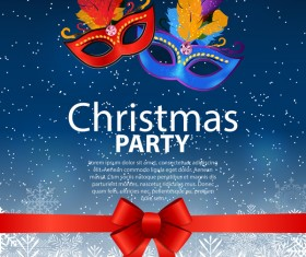 Christmas party poster template with red bow and mask vector 04