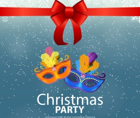 Christmas party poster template with red bow and mask vector 05