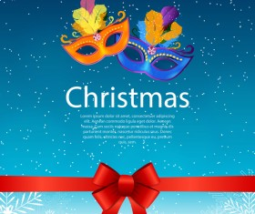 Christmas party poster template with red bow and mask vector 06