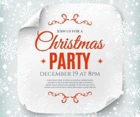 Christmas party poster with snow background vector