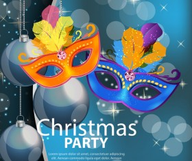 Christmas party poster with xmas background vector