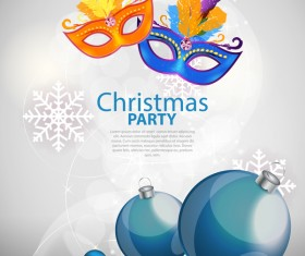 Christmas party poster with xmas balls and snowflake vector