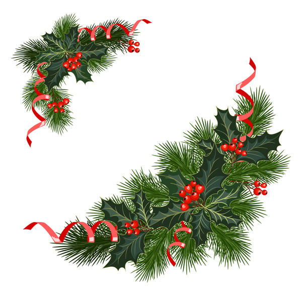 Christmas pine branches with holly ornaments vector illustration 01