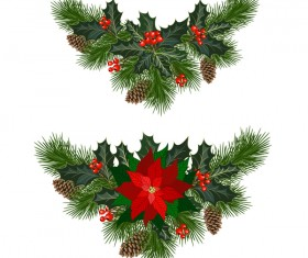 Christmas pine branches with holly ornaments vector illustration 03