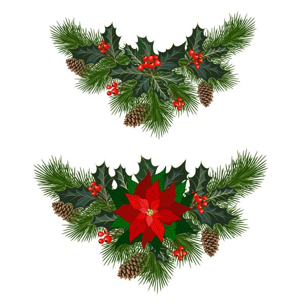 Christmas Pine Branches With Holly Ornaments Vector