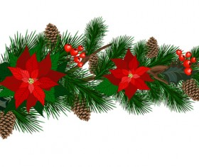 Christmas pine branches with holly ornaments vector illustration 04