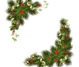 Christmas pine branches with holly ornaments vector illustration 05