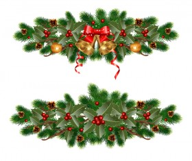 Christmas pine branches with holly ornaments vector illustration 06