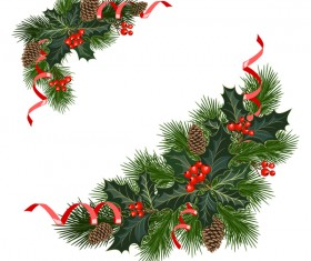 Christmas pine branches with holly ornaments vector illustration 10