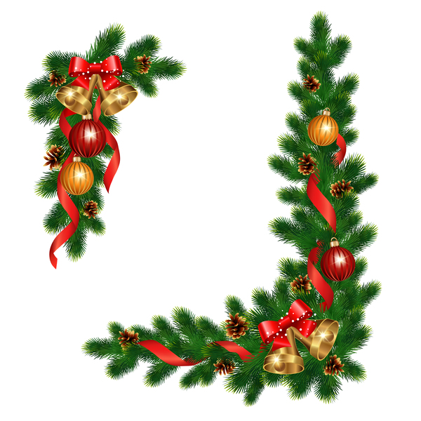 Christmas pine branches with holly ornaments vector illustration 11