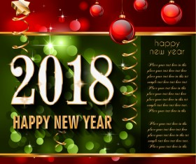 Christmas red balls and golden 2018 new year vector