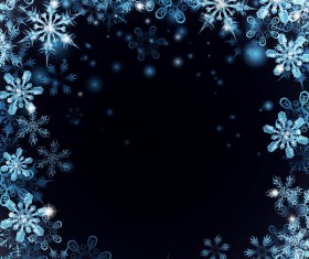 Christmas snow frame with dark blue background vector