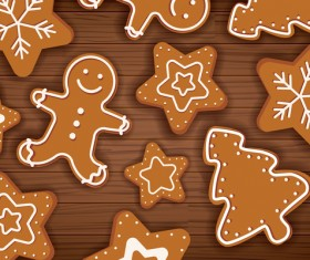 Christmas sticker icon with wooden background vector