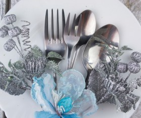 Christmas tableware Stock Photo 09