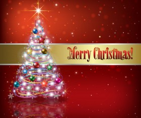 Christmas tree and decorations with red background vector