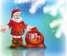 Christmas tree and santa claus with blue background vector