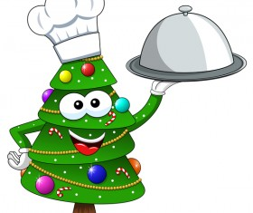 Christmas tree with cartoon cook vector 01