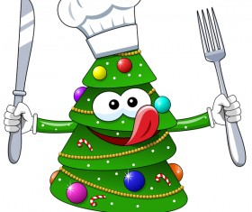 Christmas tree with cartoon cook vector 02