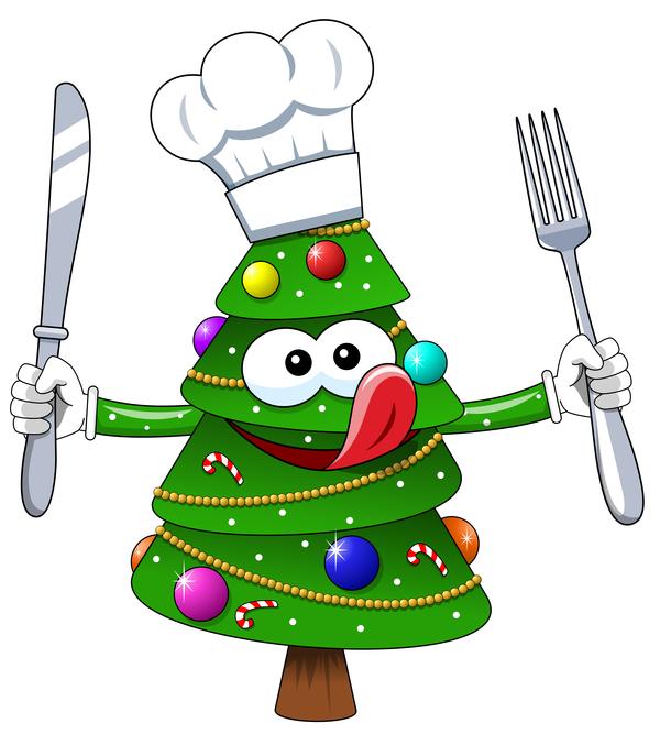 christmas tree with cartoon cook vector 02 - vector cartoon free