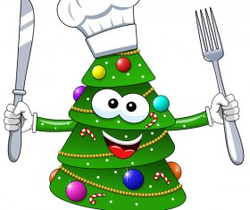 Christmas tree with cartoon cook vector 03