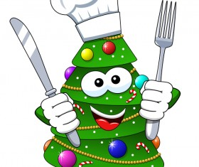 Christmas tree with cartoon cook vector 04