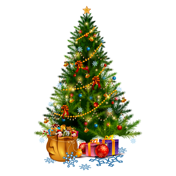 Christmas tree with gift vector illustration 02