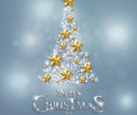 Christmas tree with jewelry decoration dessign vector 01