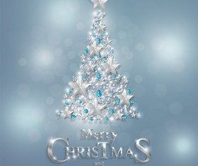 Christmas tree with jewelry decoration dessign vector 02