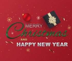 Christmas with new year and red background vector